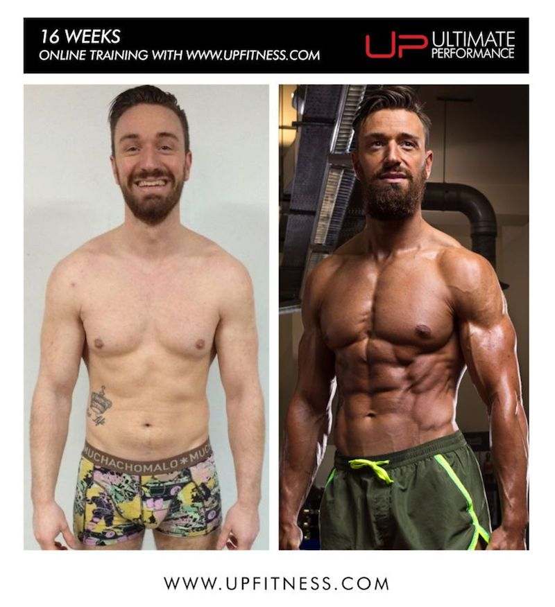 UP male muscle building transformation