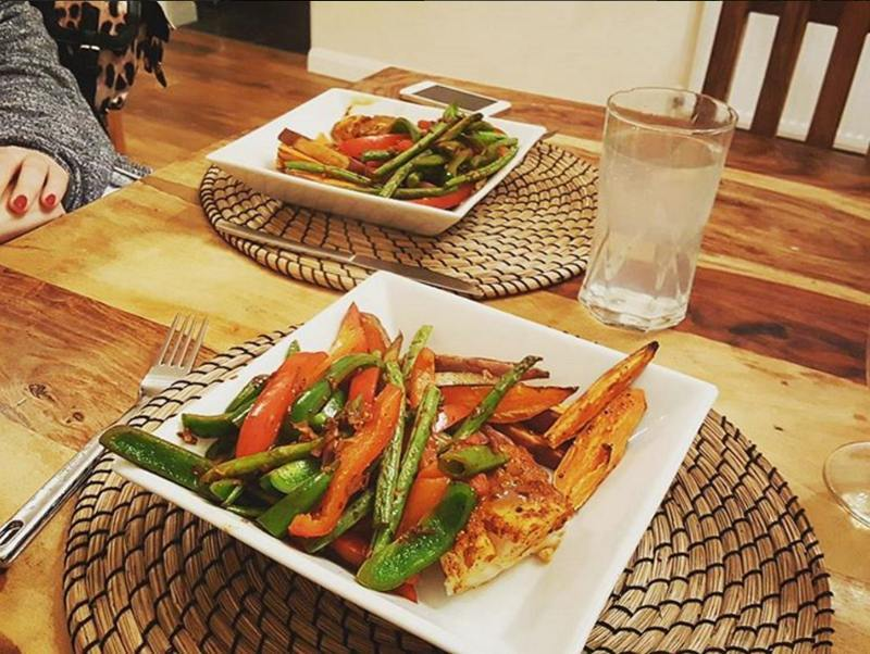 curried cod, sweet potato and vegetables