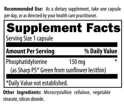 Phosphatidylserine, Microcrystalline cellulose, Vegetable stearate, Silicon dioxide, 5060448000319