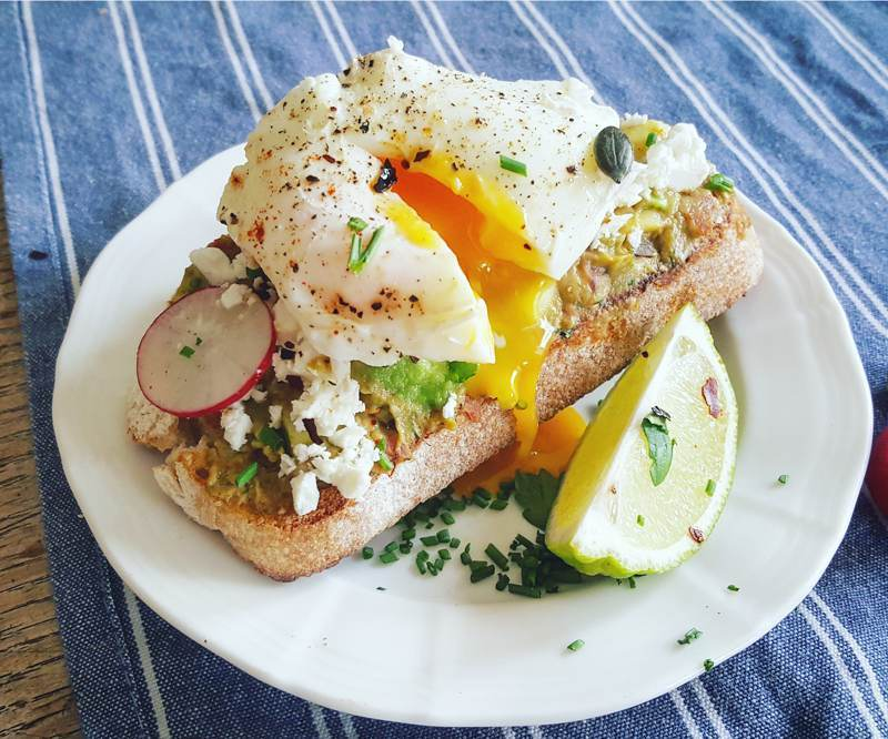 poached eggs on bread