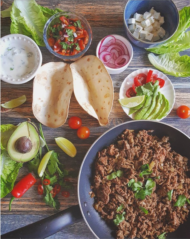 High protein healthy beef taco