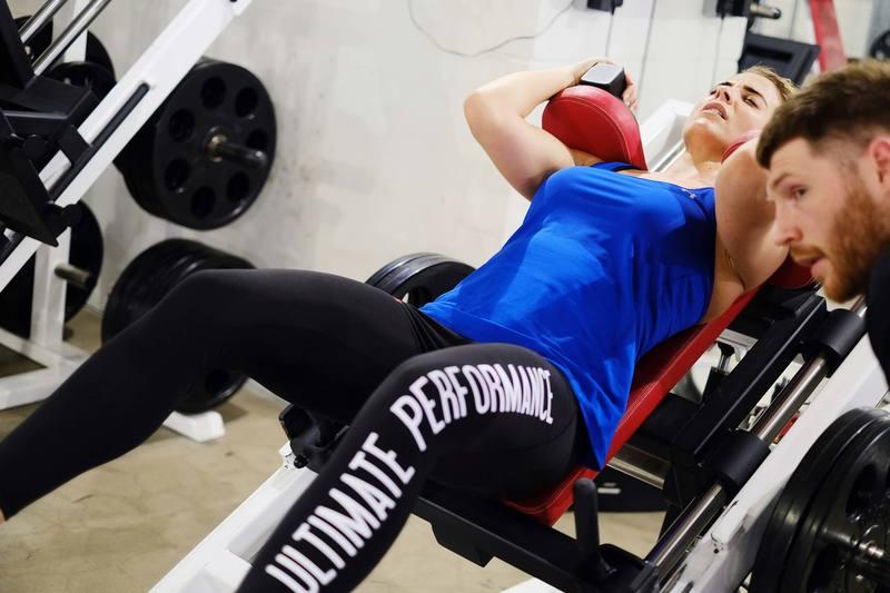 Gemma Atkinson Ultimate Performance hack squat