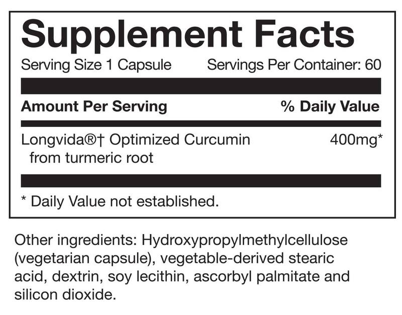longvida optimized curcumin from turmeric root, hydroxypropylmethylcellulose, vegetarian capsule, vegetable derived stearic acid, dextrin, soy lecithin, ascorbyl palmitate, silicon dioxide, 5060448000524