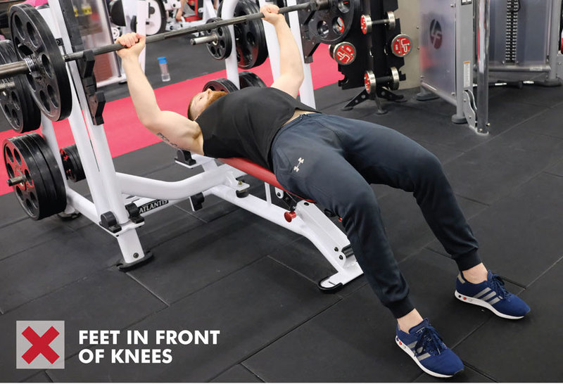 Bench press - feet in front of knees incorrect foot position