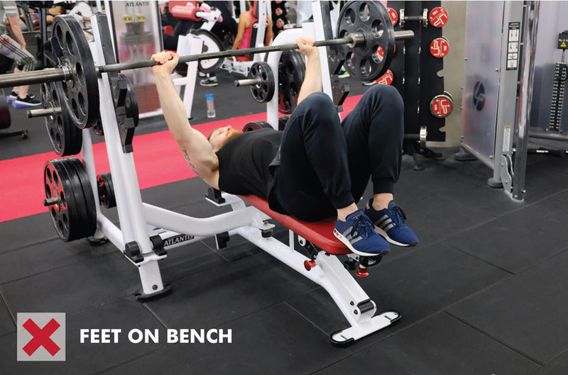 Bench press with feet on bench - incorrect foot positioning