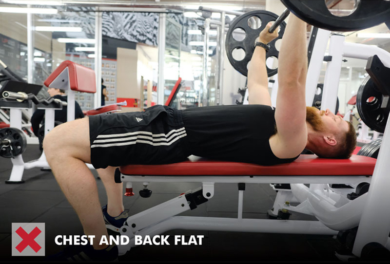 Bench press anatomy - incorrect back position on the bench