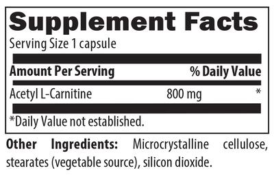 acetyl l-carnitine, microcrystalline cellulose. stearates, silicon dioxide, 5060448000036