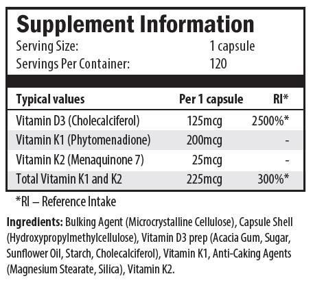 vitamin d3, cholecalciferol, vitamin k1, phytomenadione, vitamin k2, menaquinone 7, microcrystalline cellulose, hydroxypropylmethylcellulose, acacia gum, sugar, sunflower oil, starch, magnesium stearate, silica