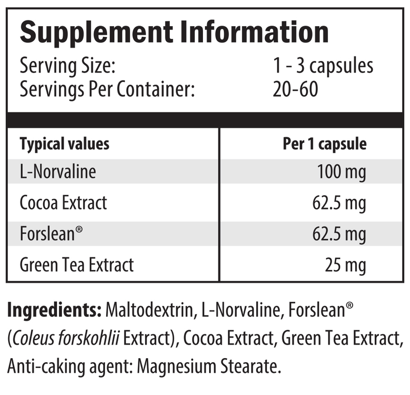 l-norvaline, cocoa extract, forslean, green tea extract, maltodextrin, coleus forskohlii extract, magnesium stearate