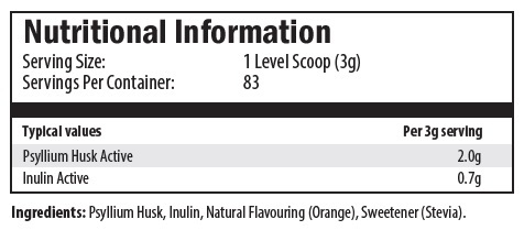 psyllium husk active, inulin active, natural orange flavouring, stevia, sweetener