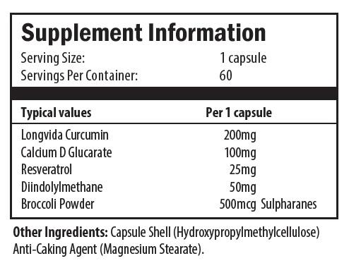 longvida curcumin, calcium d glucarate, resveratrol, diindolylmethane, broccoli powder, cellulose, magnesium stearate