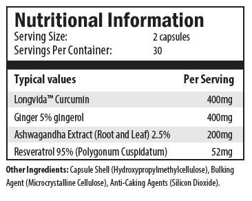 longvida curcumin, ginger, ashwagandha extract, resveratrol, cellulose, silicon dioxide.
