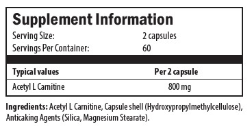acetyl l carnitine, cellulose, silica, magnesium stearate