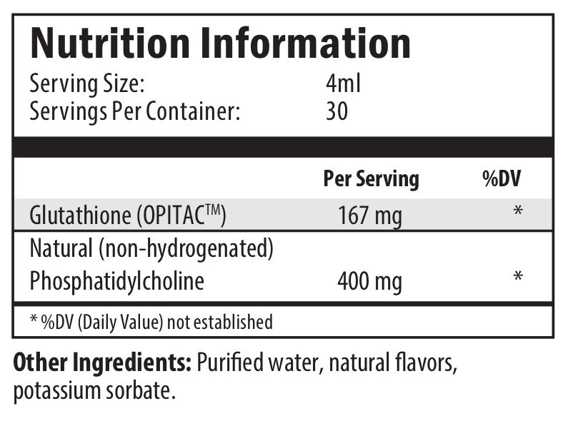 glutathione, purified water, potassium sorbate, natural flavours