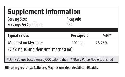 magnesium glycinate, cellulose, magnesium stearate, silicon dioxide