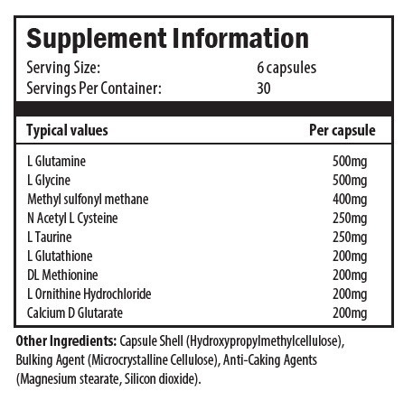 glutamine, glycine, methylsulfonylmethane, n-acetyl l-cysteine, taurine, glutathione, mthionine, ornithine, calcium d-glucarate