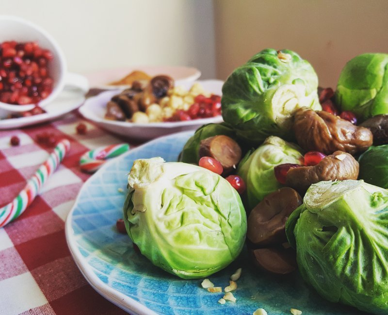 brussel sprouts with turkey, bacon, pomegranate