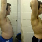 male fat loss transformation side view - UP