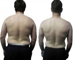 male fat loss transformation back results - UP