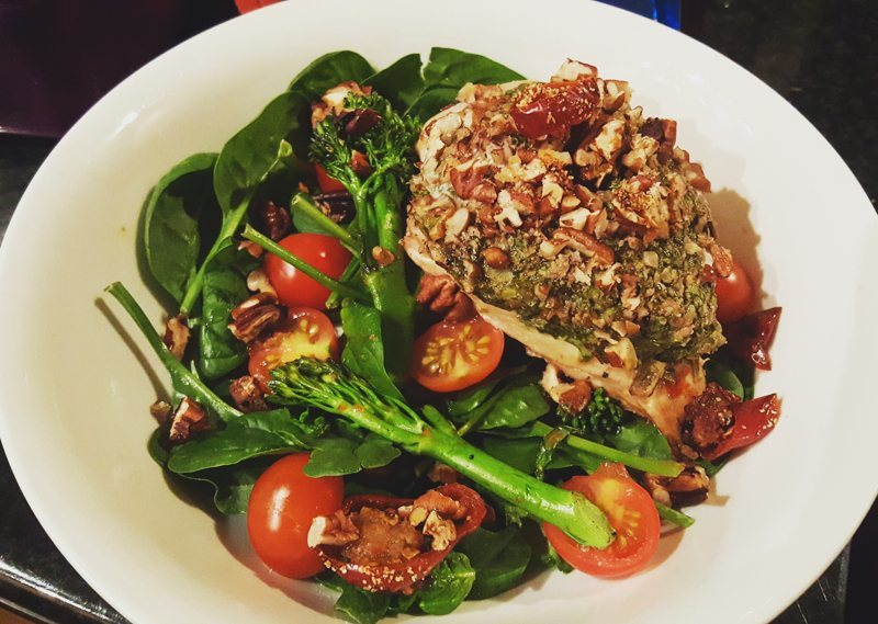 healthy pesto chicken in pecan crumbs - UP
