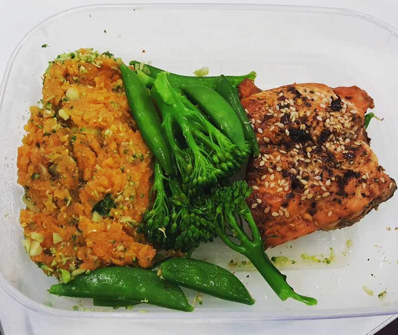 sesame salmon and sweet potato mash - UP