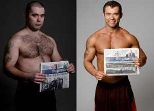Glenn parker showing his newspaper feature