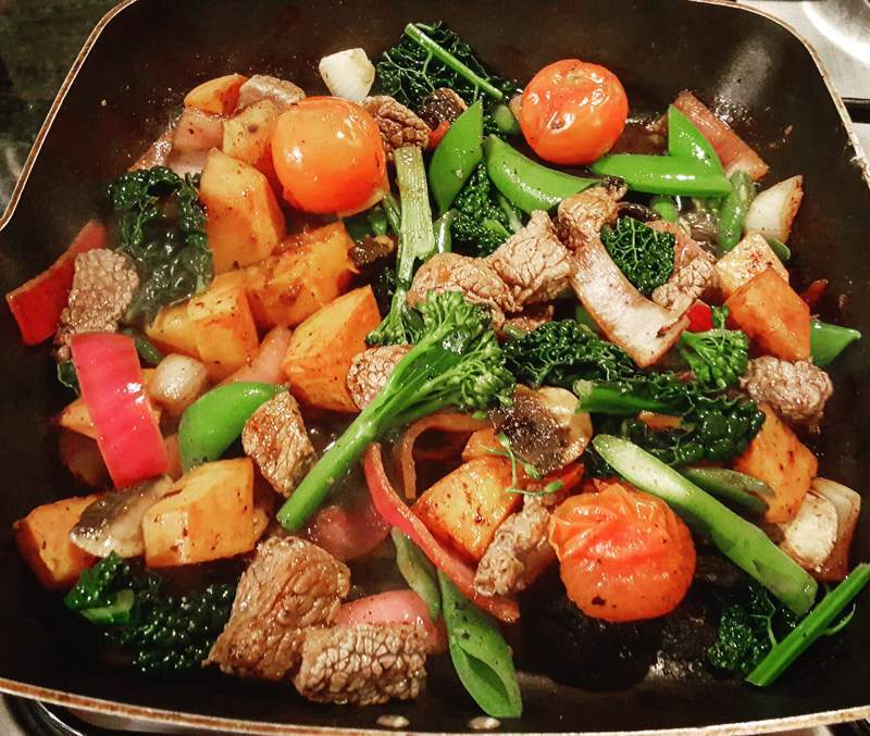 steak, sweet potato and vegetables