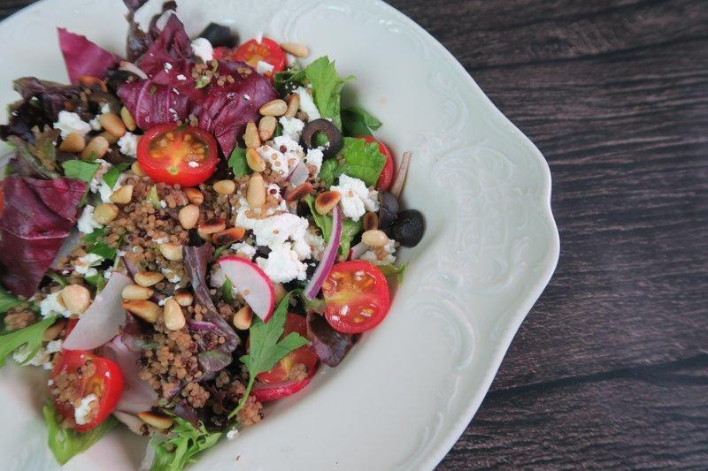 quinoa, feta and toasted pine nut salad