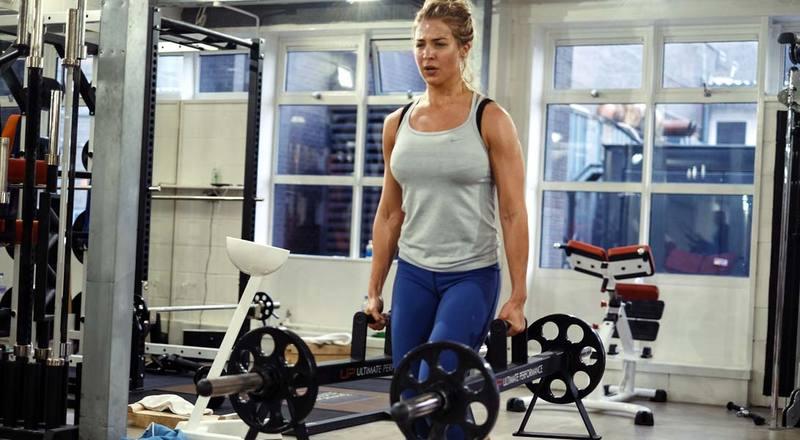 Gemma Atkinson farmer's walk gym